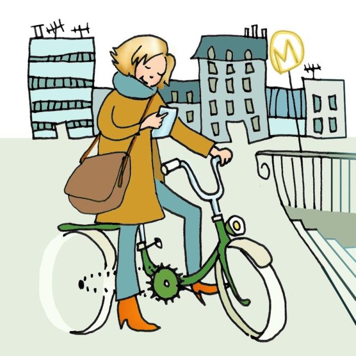 Céline sur son vélo à Paris